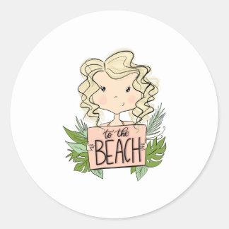 To The Beach Classic Round Sticker