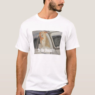 """""""To the Beach"""" Golden Lab Retriever in SUV T-Shirt"""