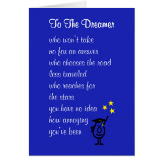 To The Dreamer - a fun high school graduation poem Card
