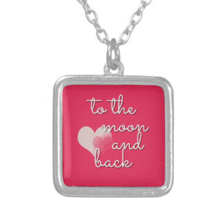 To the Moon and Back Bright Pink Charm Square Pendant Necklace