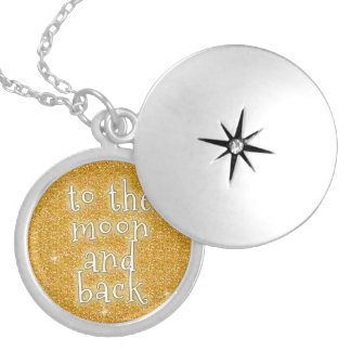 To the Moon and Back Gold Faux Glitter Effect Round Locket Necklace
