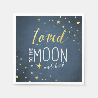To the moon Paper Napkin Baby shower Stars Gold