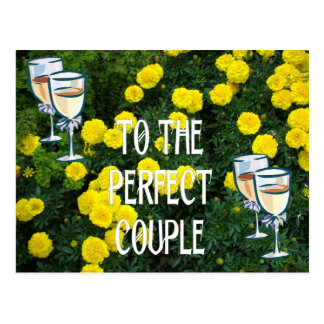 To the perfect couple, champagne and flowers postcard
