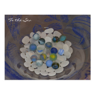 To The Sea ~ Sea glass marbles Postcard