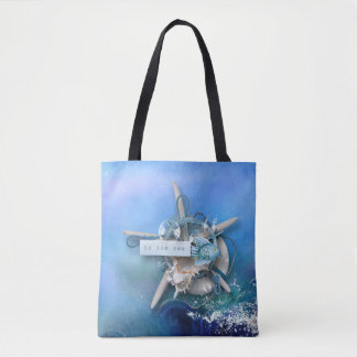 To The Sea - Watercolor Background Tote Bag