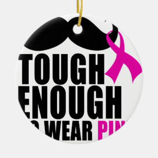 To wear Pink for cancer awareness Round Ceramic Decoration