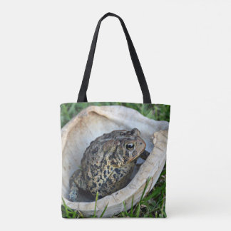 Toad Sitting In A Turtle Shell Tote Bag
