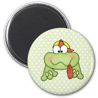 Toadally Cute Boy Frog 6 Cm Round Magnet