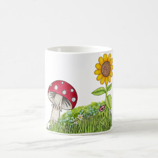 Toadstool and Sunflower Coffee Mug