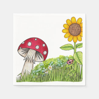 Toadstool and Sunflower Disposable Serviette