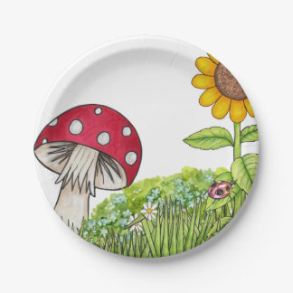 Toadstool and Sunflower Paper Plate