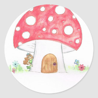 Toadstool Fairy Girl water colour print gift Round Stickers