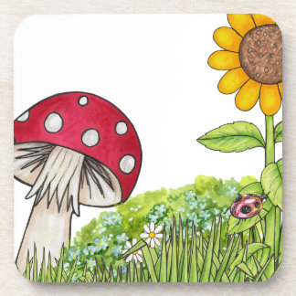 Toadstool with Sunflower and Ladybug products Coaster