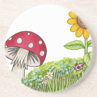 Toadstool with Sunflower and Ladybug products Drink Coasters