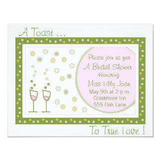 toast, A Toast ..., To True Love ! 11 Cm X 14 Cm Invitation Card