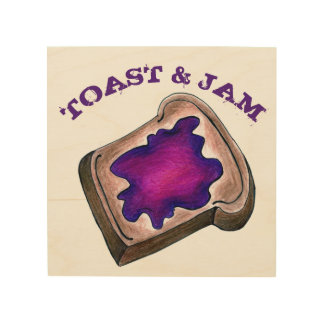 Toast and Jam Grape Jelly Breakfast Bread Food Wood Wall Decor