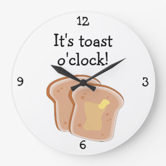 Toast O'Clock fun food graphic Large Clock