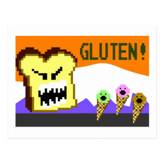 Toast, The Gluten Menace: 8-Bit Style Postcard