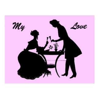 Toast to Love Romantic Victorian Couple Postcard