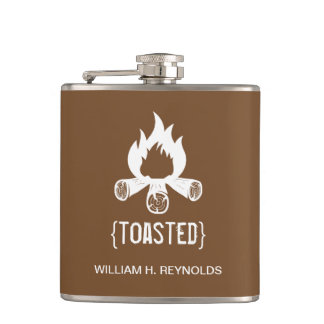 {TOASTED} Bridal Party Toasted Campfire (brown) Flasks