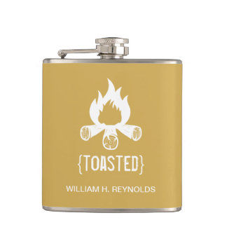 {TOASTED} Bridal Party Toasted Campfire (gold) Hip Flasks