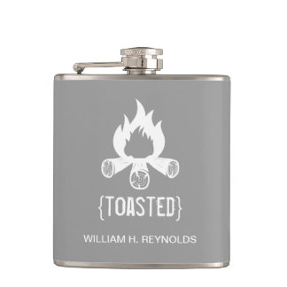 TOASTED Bridal Party Toasted Campfire grey Flasks