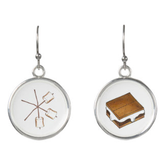 Toasted Marshmallow Stick Campfire Camp S'mores Earrings