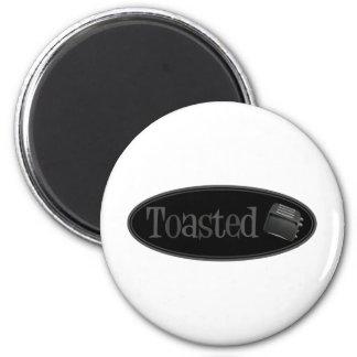 TOASTED Retro Toaster - Black & Grey 6 Cm Round Magnet