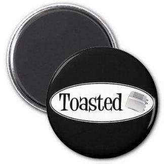 TOASTED Retro Toaster - Black & White 6 Cm Round Magnet