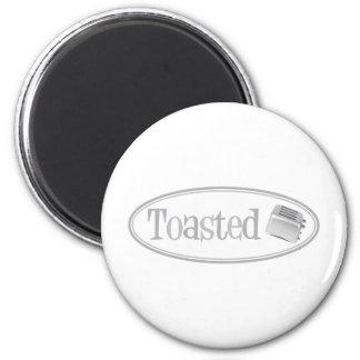 TOASTED Retro Toaster - Light Grey 6 Cm Round Magnet
