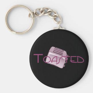 Toasted - Retro Toaster - Pink Basic Round Button Key Ring