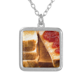 Toasted slices of bread with strawberry jam silver plated necklace