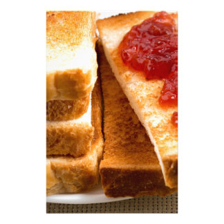 Toasted slices of bread with strawberry jam stationery
