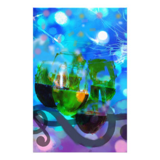 Toasting glasses and music notes. customized stationery