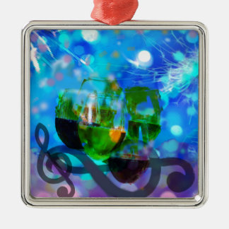 Toasting glasses and music notes. metal ornament