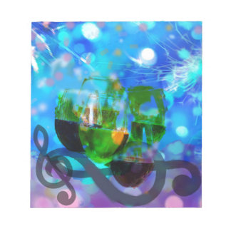 Toasting glasses and music notes. notepads
