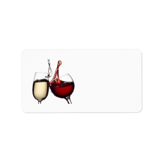 """TOASTING WINE GLASSES"" RETURN ADRESS LABLES LABEL"
