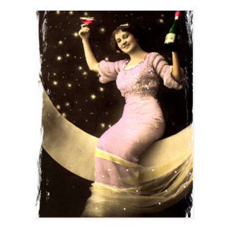 Toasting You From The Moon Postcard