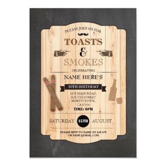 Toasts & Smokes Cigar Birthday Party 40th Invite