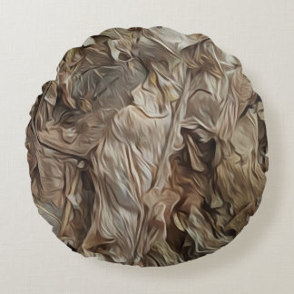 Tobacco abstract round cushion
