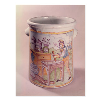 Tobacco pot depicting a tobacconist postcard