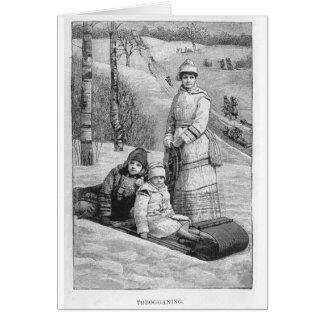 Tobagonning Vintage Victorian Christmas Winter Greeting Card