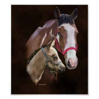 Tobiano Paint Mare and Foal Poster