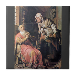 Tobias suspected his wife of theft by Rembrandt Tile