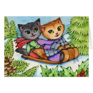 Toboggan Ride - Cute Winter Cats Card
