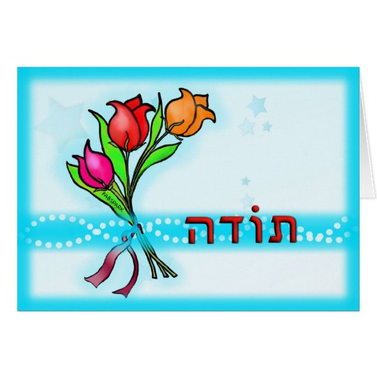 Toda תודה Hebrew Thank You Greeting Card