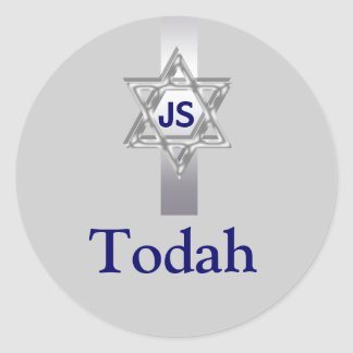 Todah thanks bar mitzvah celebrations classic round sticker