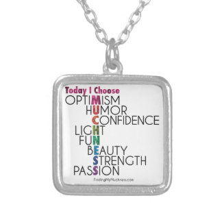 Today, Choose MUCHNESS, Glitter inspirational art Silver Plated Necklace