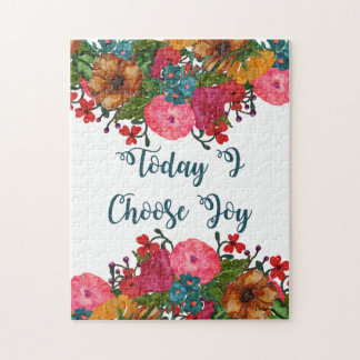 Today I Choose Joy | Inspirational Floral Art Jigsaw Puzzle