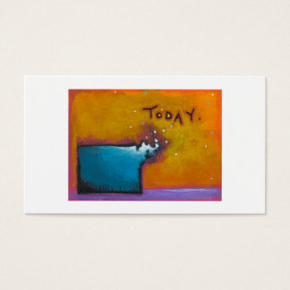 Today unique colorful expressive tiny art painting business card